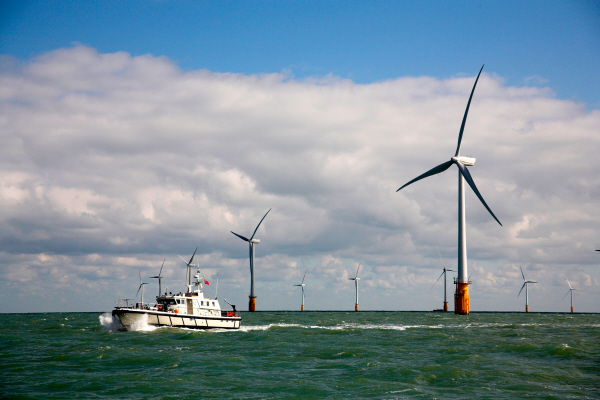 Boat and wind turbines