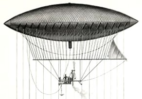 Steerable Hydrogen Dirigible Airship invented by Giffard